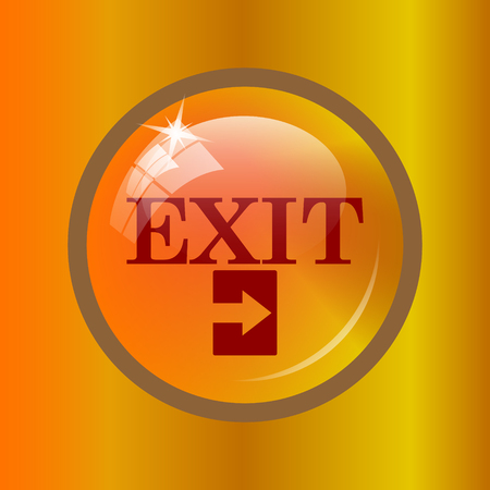 exit icon: Exit icon. Internet button on colored background.
