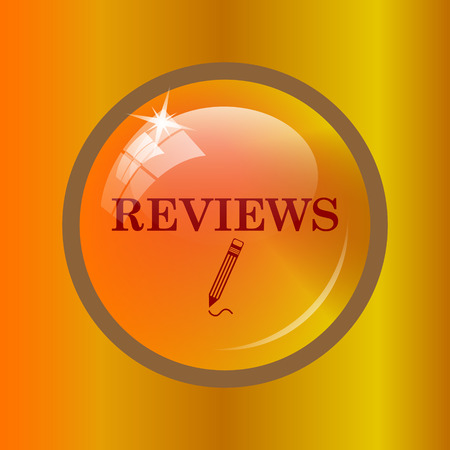 reviews: Reviews icon. Internet button on colored background. Stock Photo