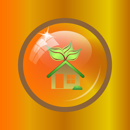Eco house icon. Internet button on colored background.