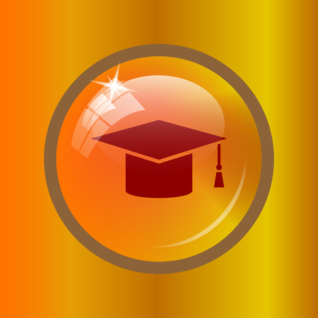 Graduation icon. Internet button on colored background. Stock Photo