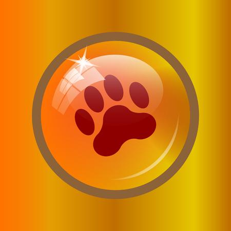 tigre cachorro: icono de impresión de la pata. botón de internet sobre fondo de color.