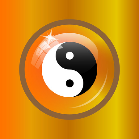 Ying yang icon. Internet button on colored background.