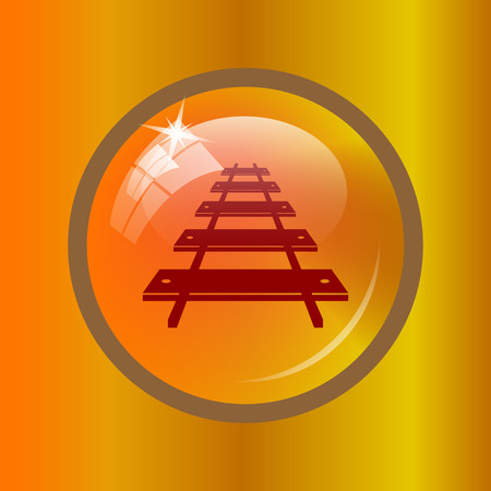 Rail road icon. Internet button on colored background.
