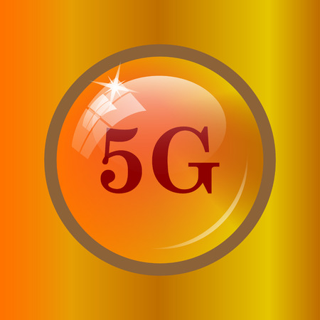 3g: 5G icon. Internet button on colored background. Stock Photo