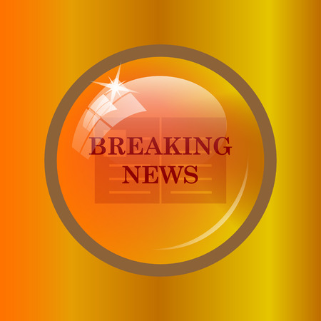 newscast: Breaking news icon. Internet button on colored background.