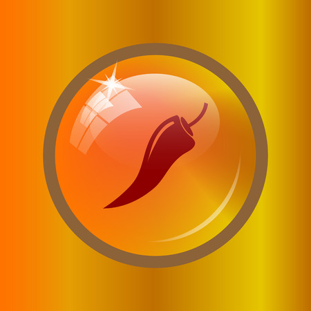 cayenne: Pepper icon. Internet button on colored background.