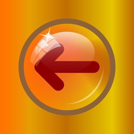 Left arrow icon. Internet button on colored background.