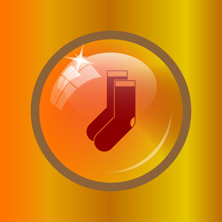 Socks icon. Internet button on colored background.