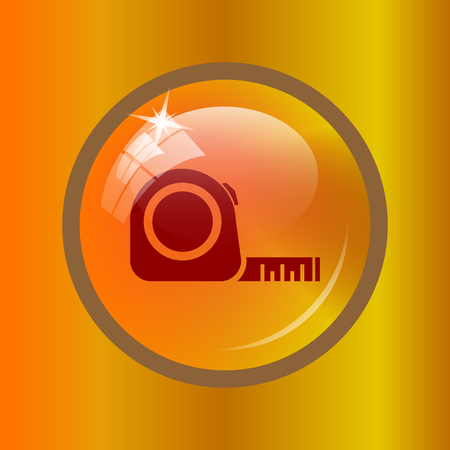 Tape measure icon. Internet button on colored background. Stock Photo