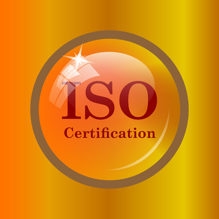 certification: ISO certification icon. Internet button on colored background. Stock Photo