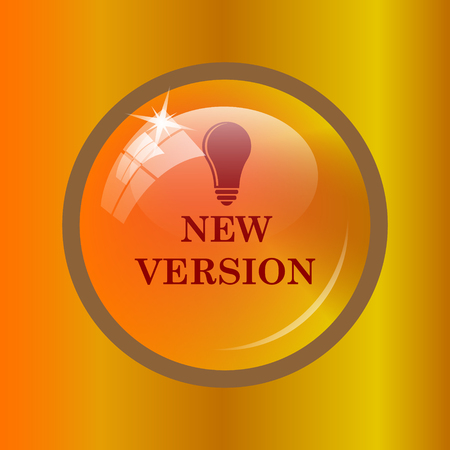 version: New version icon. Internet button on colored background.