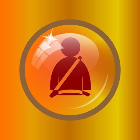 cinturon seguridad: icono de cinturón de seguridad. botón de internet sobre fondo de color.