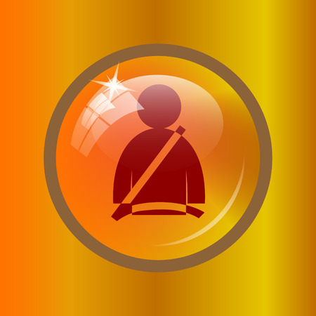 gold buckle: Safety belt icon. Internet button on colored background. Stock Photo