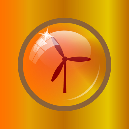Windmill icon. Internet button on colored background.