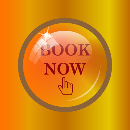 Book now icon. Internet button on colored background.