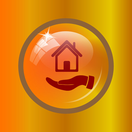 hand holding house: Hand holding house icon. Internet button on colored background.