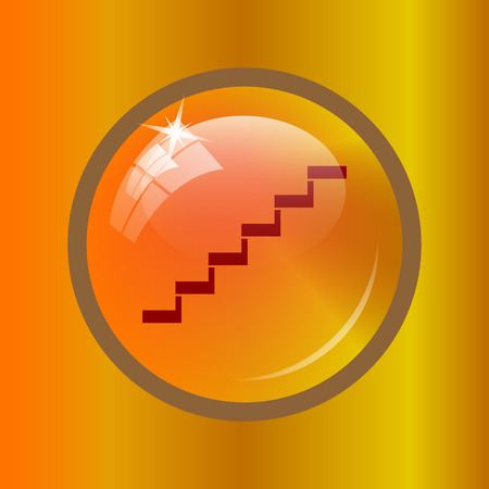 Stairs icon. Internet button on colored background.