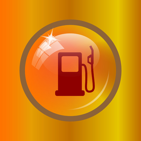 filling station: Gas pump icon. Internet button on colored background.