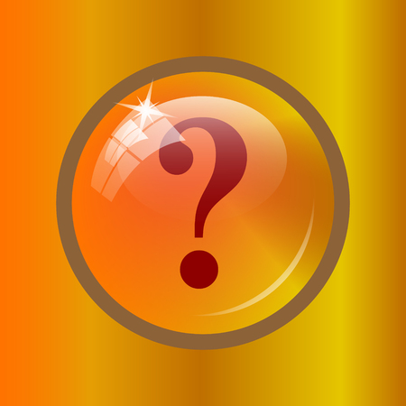 Question mark icon. Internet button on colored background.