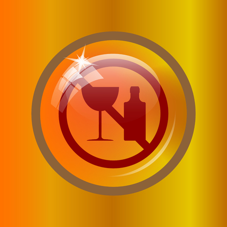No alcohol icon. Internet button on colored background.