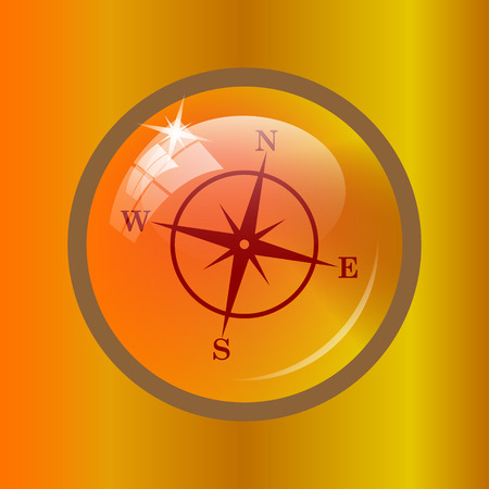 geodesy: Compass icon. Internet button on colored background.