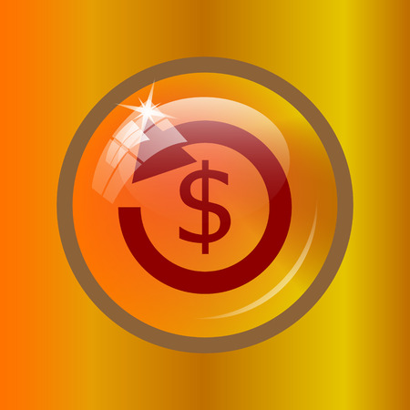 Refund icon. Internet button on colored background.
