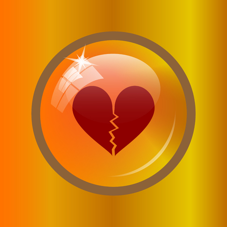 Broken heart icon. Internet button on colored background.