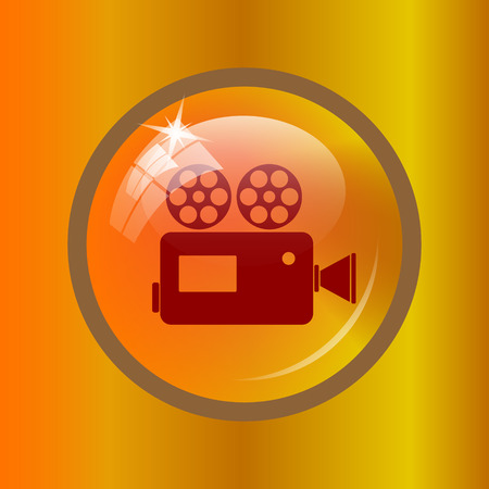 Video camera icon. Internet button on colored background. Stock Photo