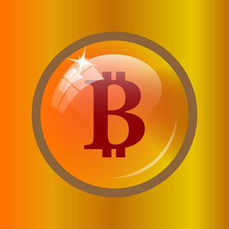 cryptography: Bitcoin icon. Internet button on colored background.