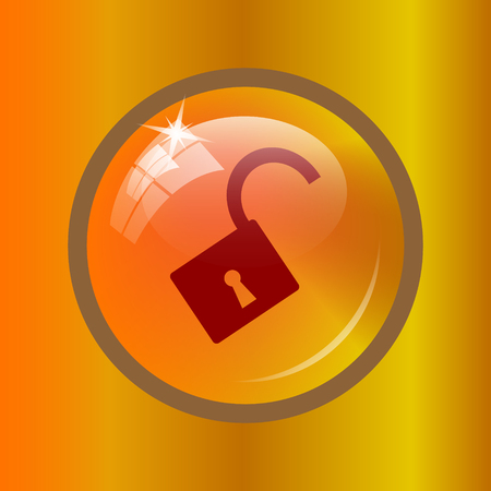 Open lock icon. Internet button on colored background. Stock Photo