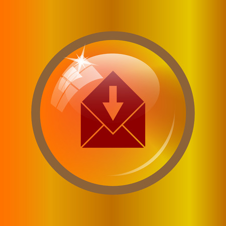 Receive e-mail icon. Internet button on colored background.