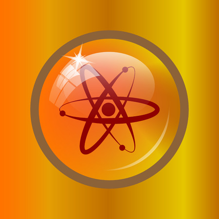 Atoms icon. Internet button on colored background. Stock Photo