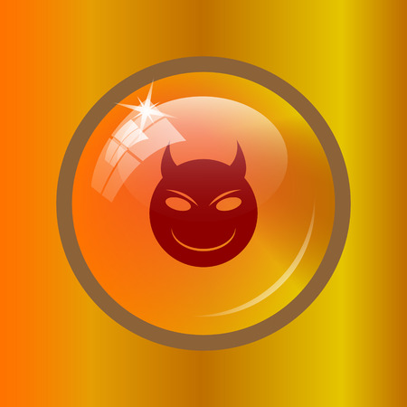 Evil icon. Internet button on colored background. Stock Photo
