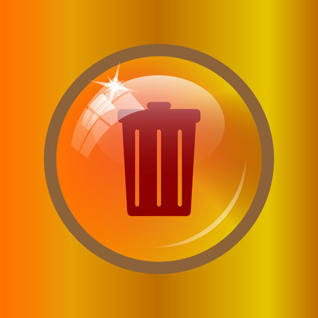 dumping: Bin icon. Internet button on colored background.