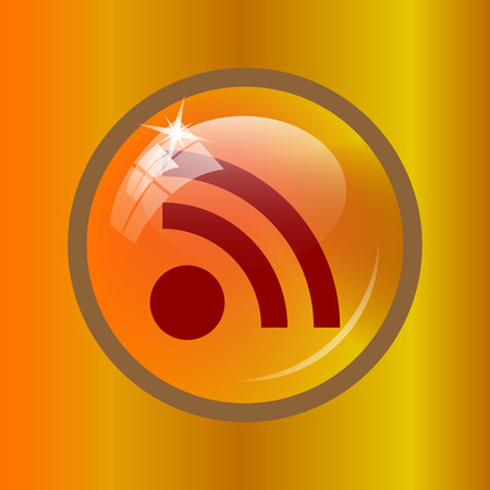 Rss sign icon. Internet button on colored background. Stock Photo