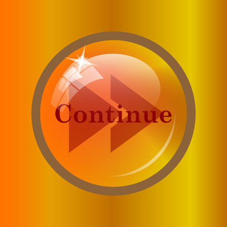 Continue icon. Internet button on colored background.