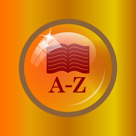 A-Z book icon. Internet button on colored background.