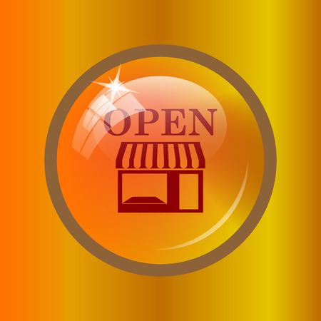 Open store icon. Internet button on colored background.