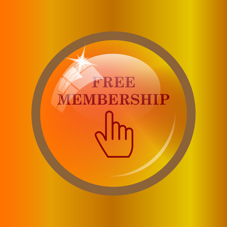 subscriber: Free membership icon. Internet button on colored background.