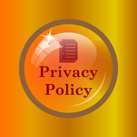 Privacy policy icon. Internet button on colored background.