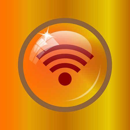 Wireless sign icon. Internet button on colored background. Stock Photo