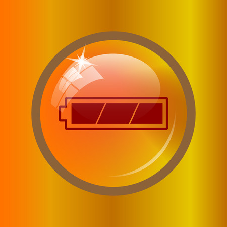 Fully charged battery icon. Internet button on colored background.
