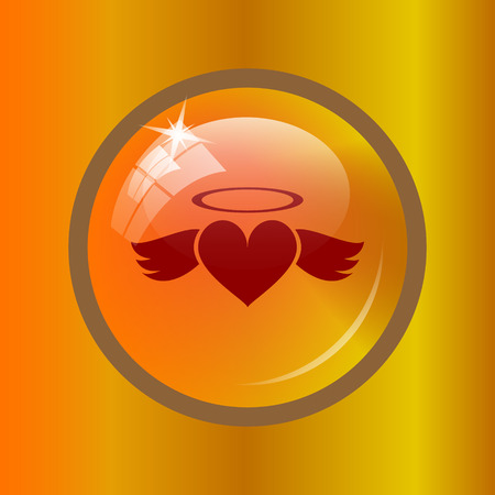 Heart angel icon. Internet button on colored background. Stock Photo
