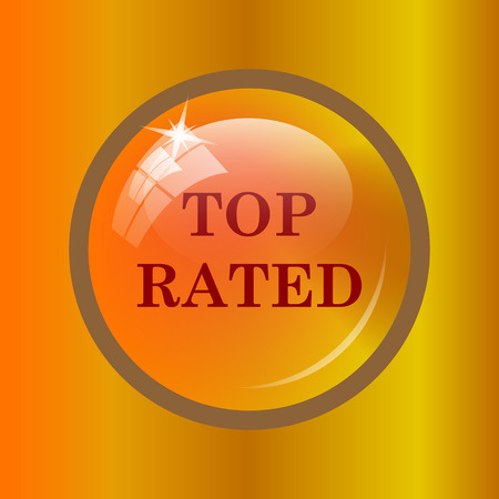 rated: Top rated  icon. Internet button on colored background. Stock Photo