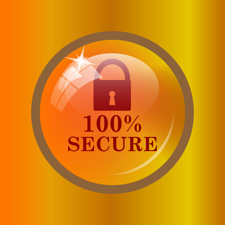 reassurance: 100 percent secure icon. Internet button on colored background. Stock Photo