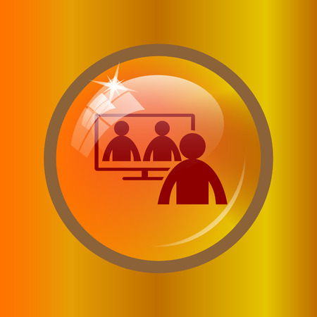 Video conference, online meeting icon. Internet button on colored background. Stock Photo