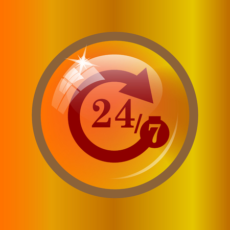 247 icon. Internet button on colored background.