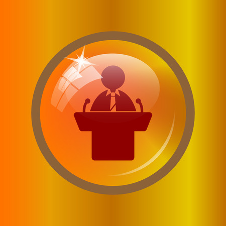 rostrum: Speaker icon. Internet button on colored background. Stock Photo