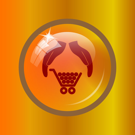 golden rule: Consumer protection, protecting hands icon. Internet button on colored background. Stock Photo