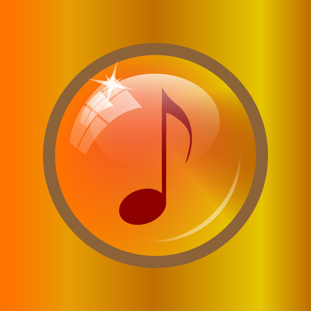 listen to music: Musical note icon. Internet button on colored background. Stock Photo